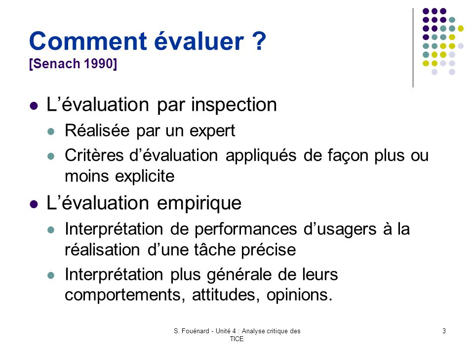 Comment évaluer [Senach 1990]
